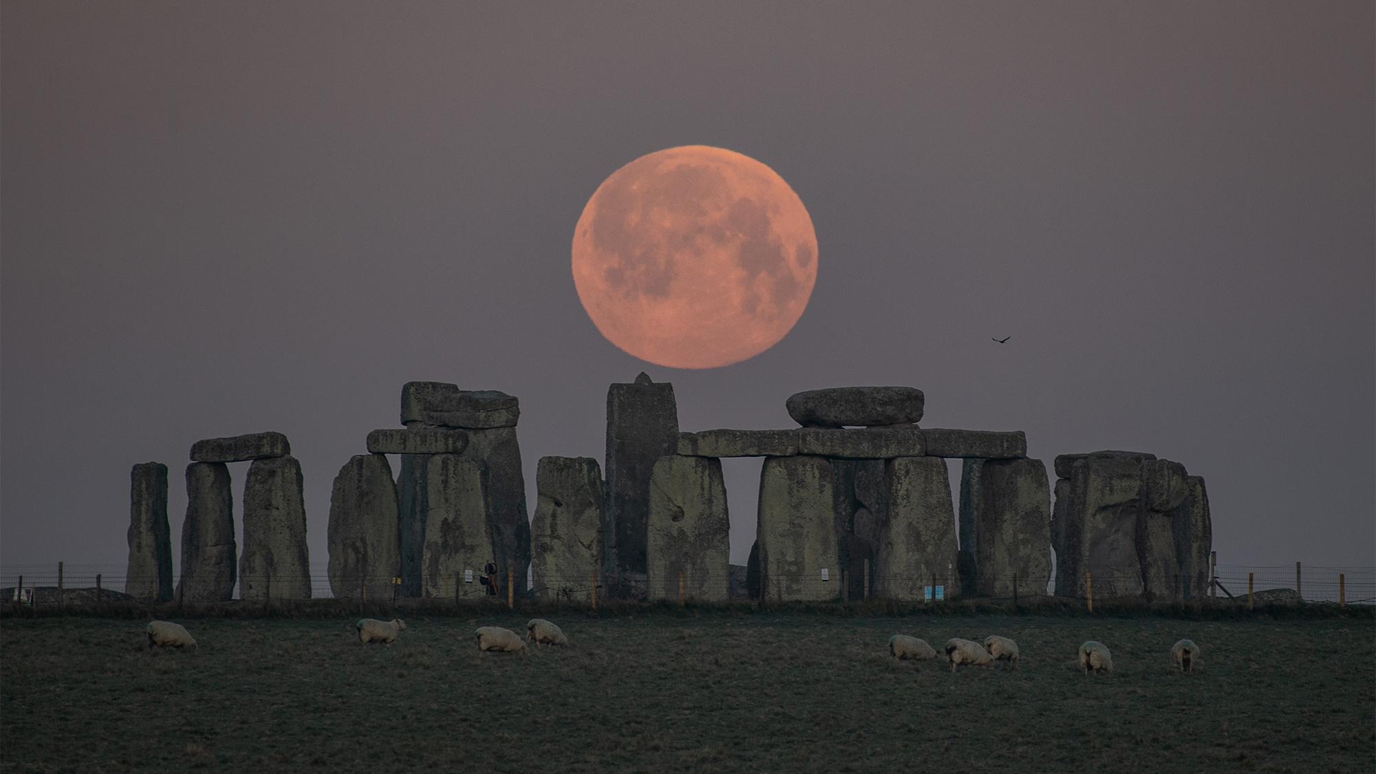 La Super Lune Rose est vue au-dessus de Stonehenge à Amesbury, en Angleterre, tôt le matin du 27 avril 2021.
