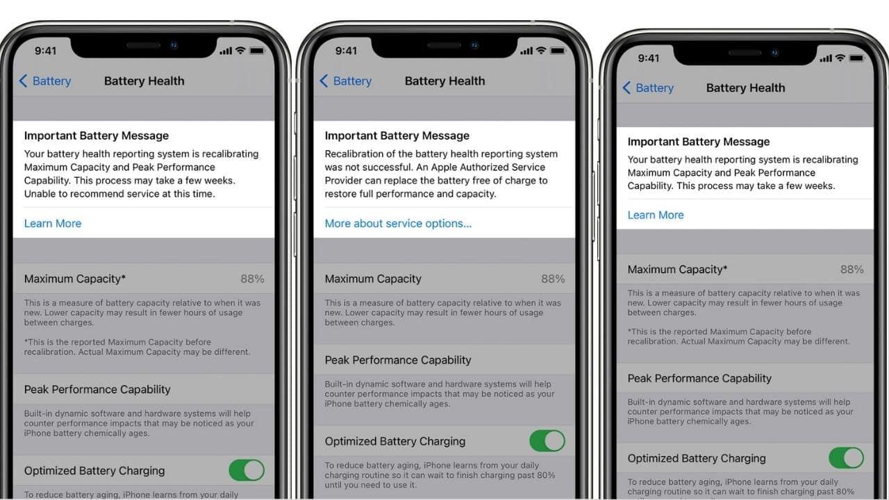 Recalibrage des rapports de santé de la batterie sur l'iPhone 11, l'iPhone 11 Pro et l'iPhone 11 Pro Max
