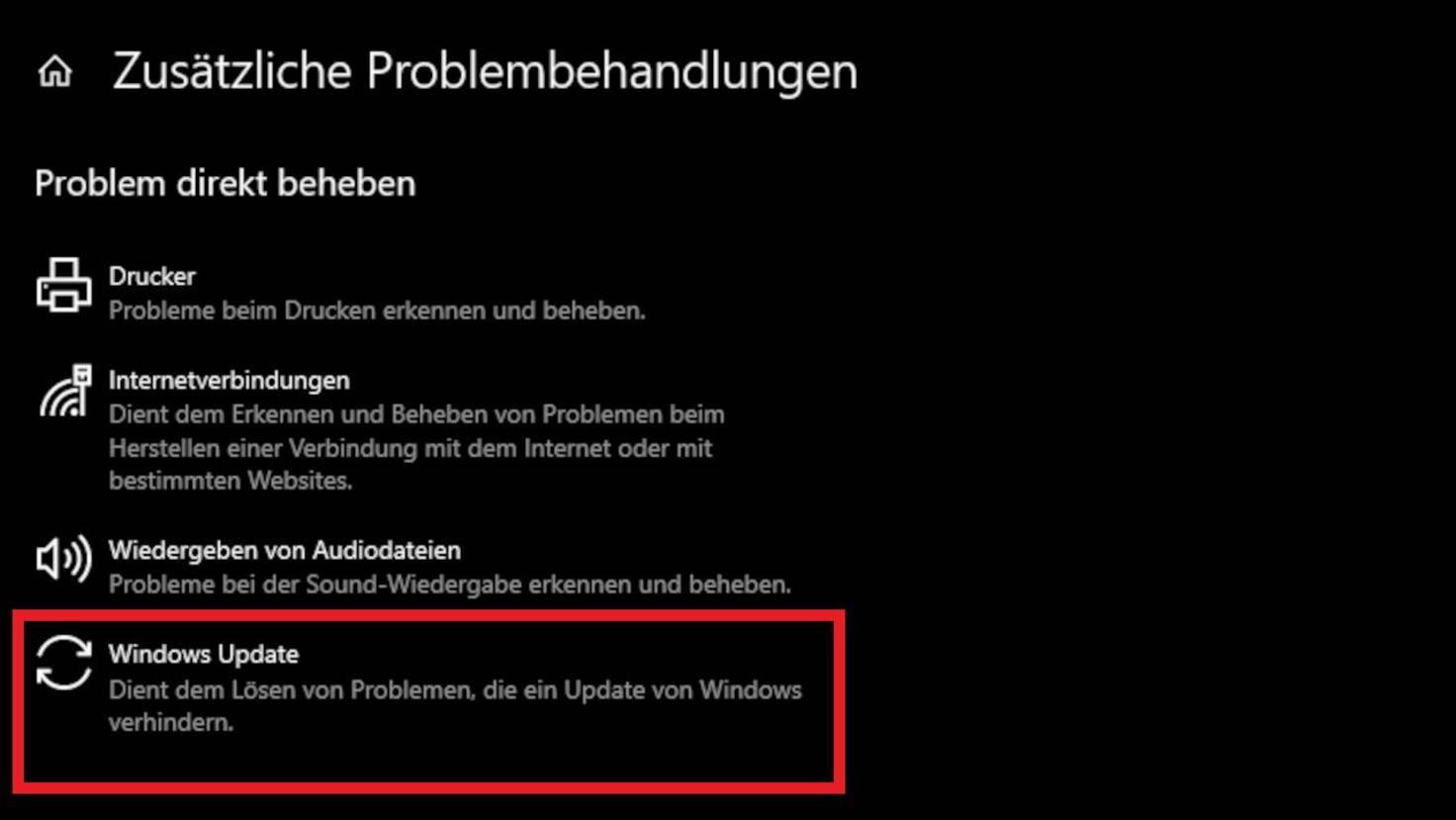 gestion des problèmes windows-10-windows-update
