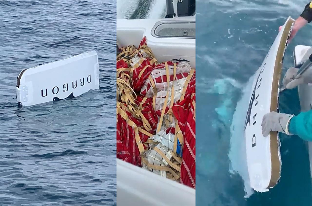 Deux parachutes de drogue et un panneau de couverture d'un test d'abandon SpaceX ont été trouvés par des pêcheurs de Floride.