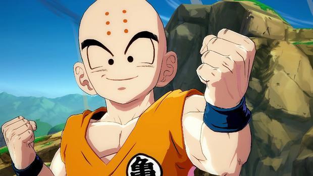 Krillin a six points sur son front et se rase la tête lors de la pratique des arts martiaux.  (Photo: Toei Animation)