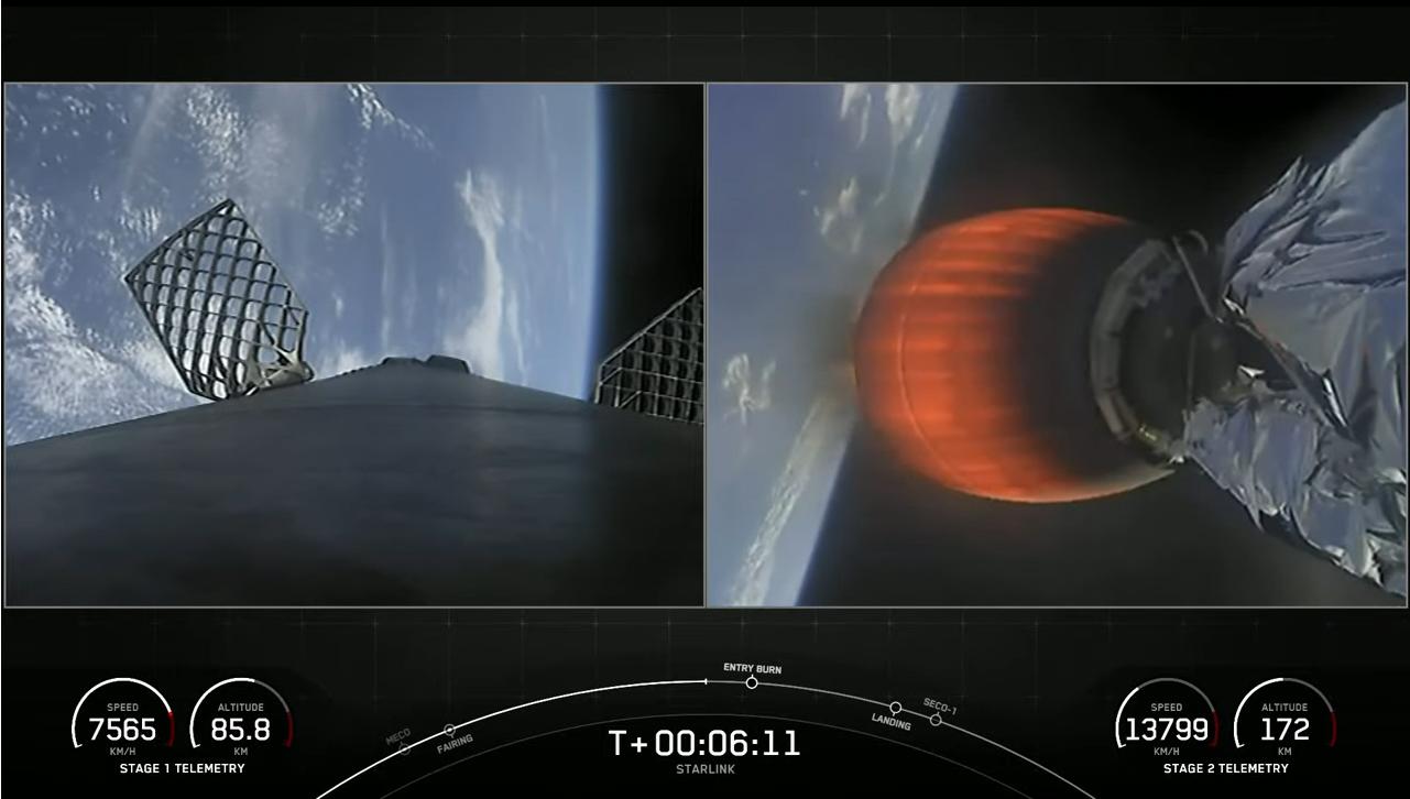 Le premier étage de la fusée Falcon 9 de SpaceX (à gauche) exécute une brûlure d'entrée avant l'atterrissage alors que son deuxième étage continue de tourner en orbite avec 60 satellites Starlink lors d'un lancement réussi le 4 mai 2021.