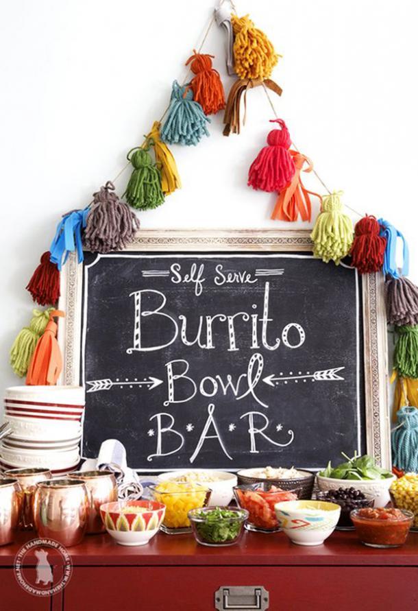 Bols de burrito en libre-service bar tableau bricolage décorations cinco de mayo