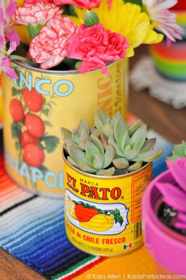succulente can bricolage décorations cinco de mayo