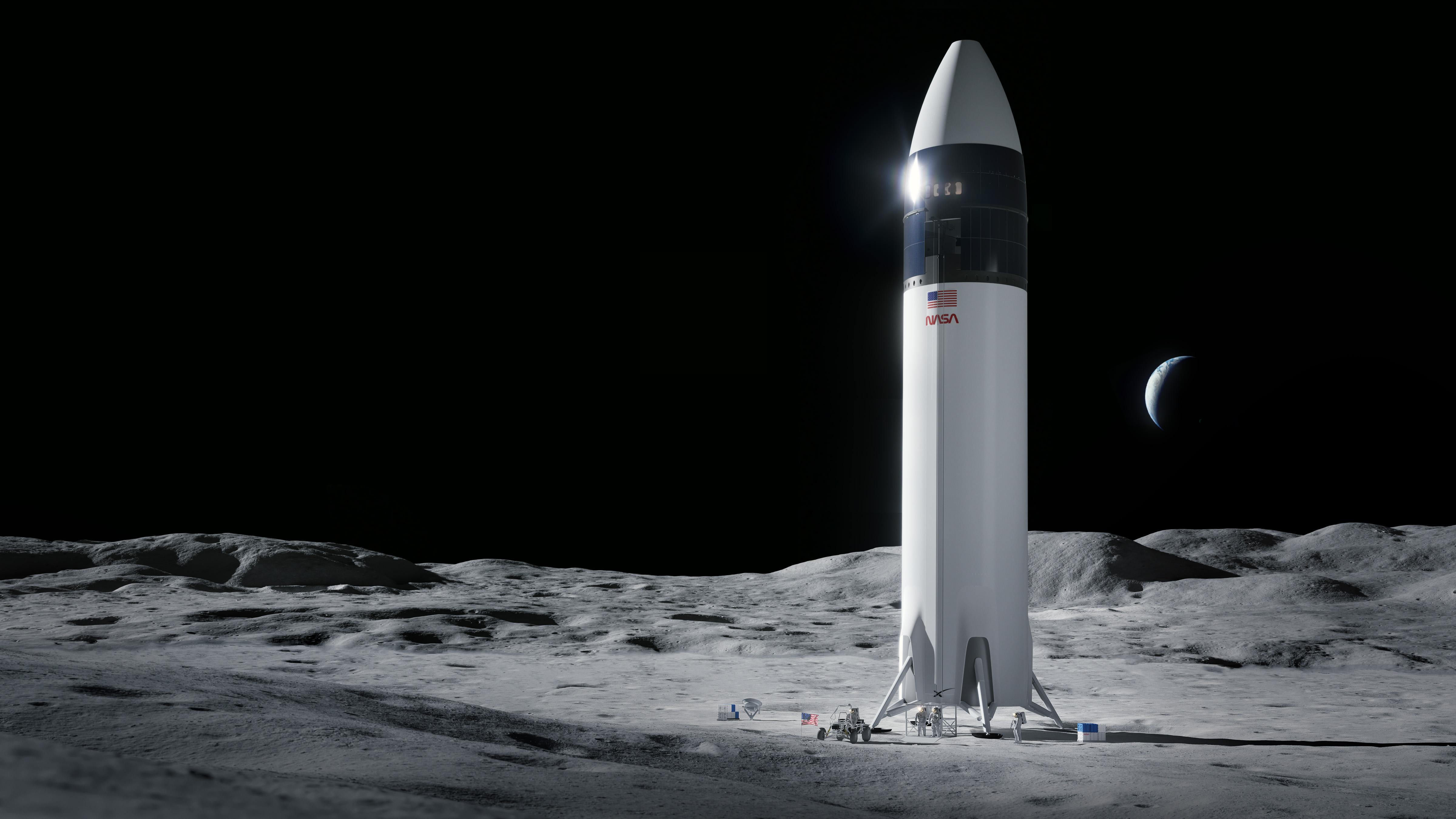 La NASA a choisi le vaisseau spatial Starship de SpaceX, vu ici dans la représentation d'un artiste, pour faire atterrir les astronautes Artemis sur la lune.