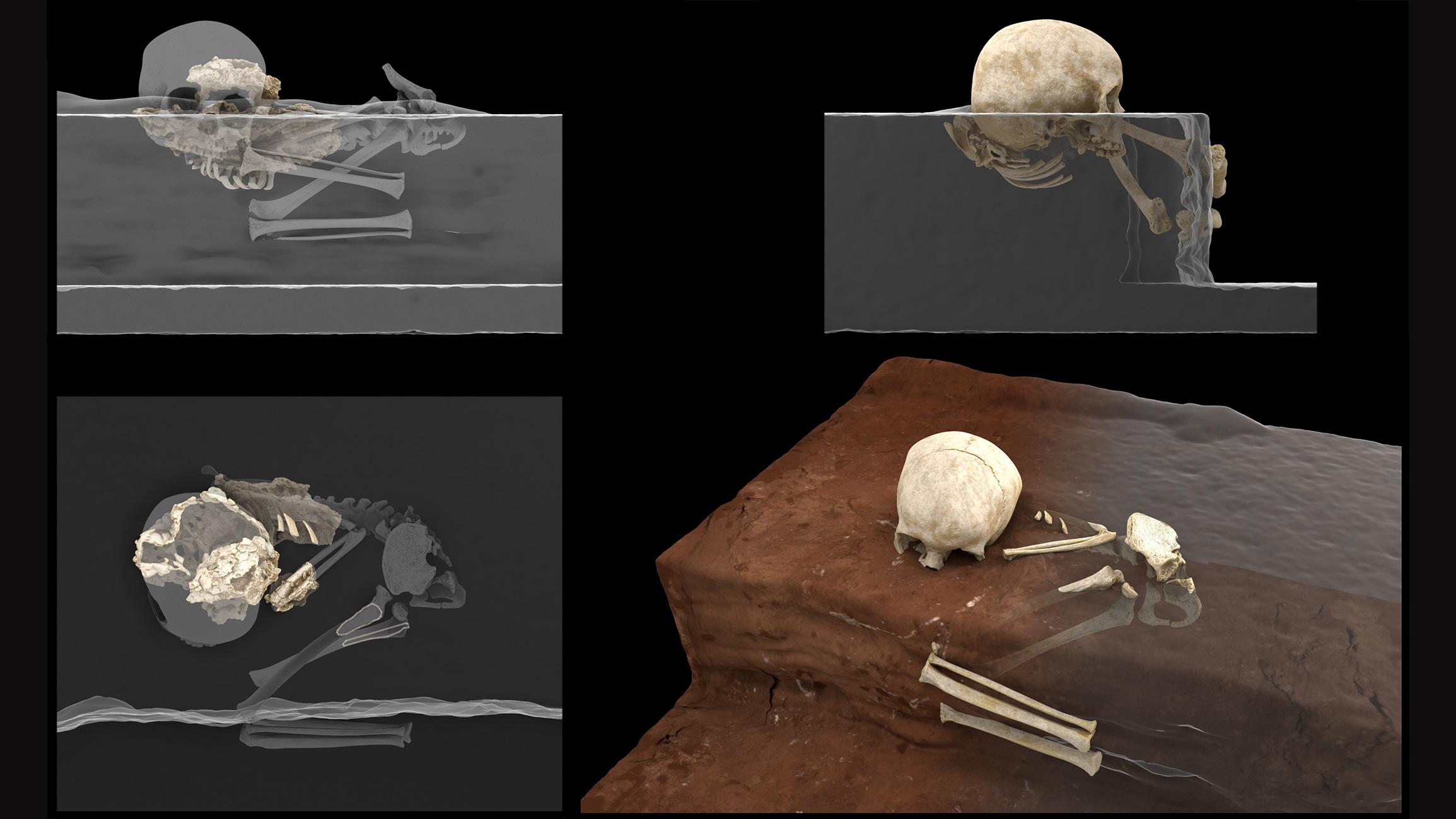 Une reconstruction virtuelle des restes dans la grotte Panga ya Saidi (à gauche) et leur position lorsqu'ils ont été révélés dans le bloc de sédiments par une technique de rayons X appelée tomographie micro-calculée (à droite).