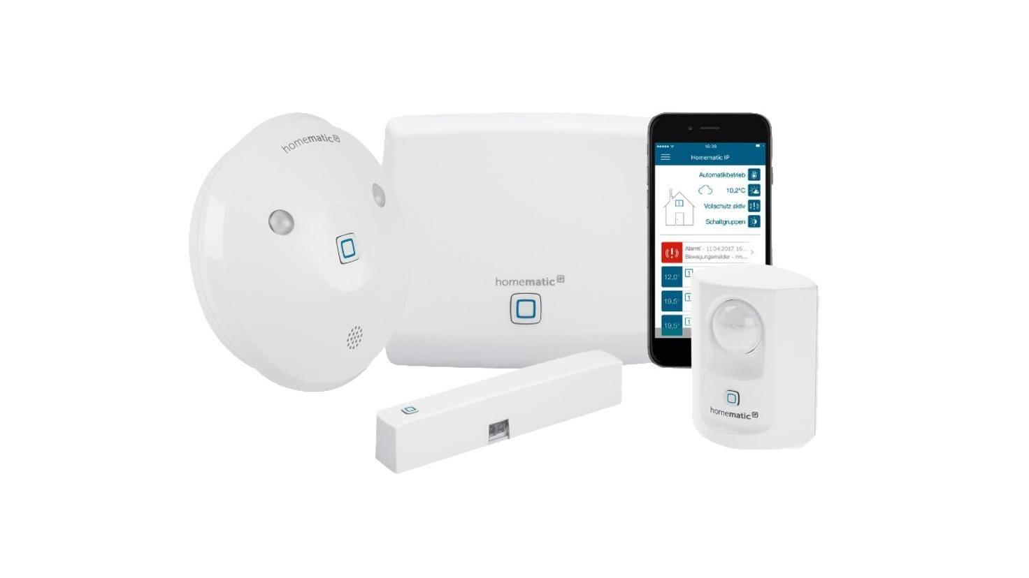 Homematic s'appuie sur un ensemble composé d'une sirène d'alarme et d'un détecteur d'eau.
