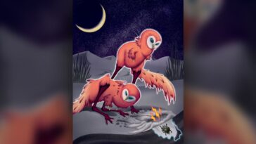 Petit Dinosaure Qui Ressemblait à Un Hibou Chassé Comme Un