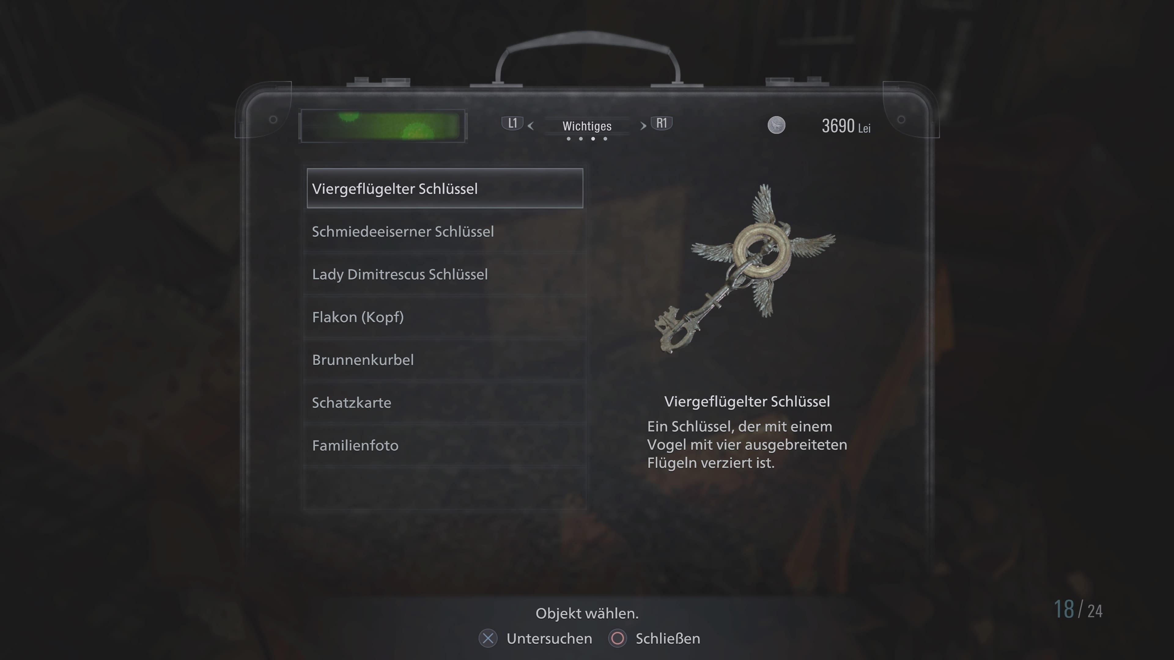 Resident Evil 8: clé à quatre ailes (solution)