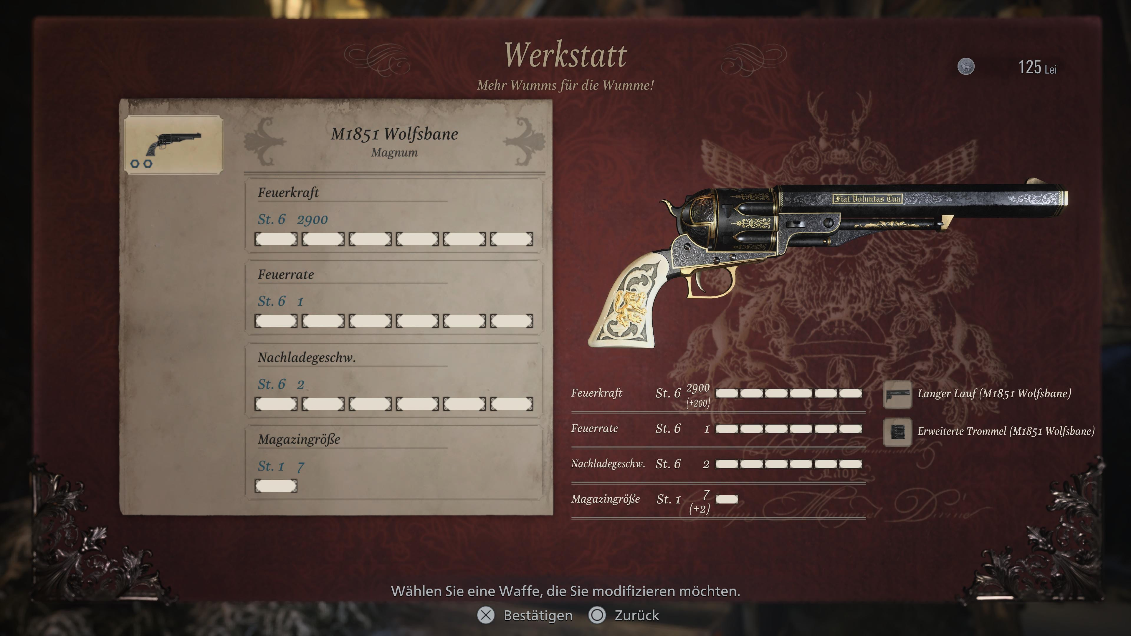 Valeurs de Resident Evil 8 Magnum Wolfsbane