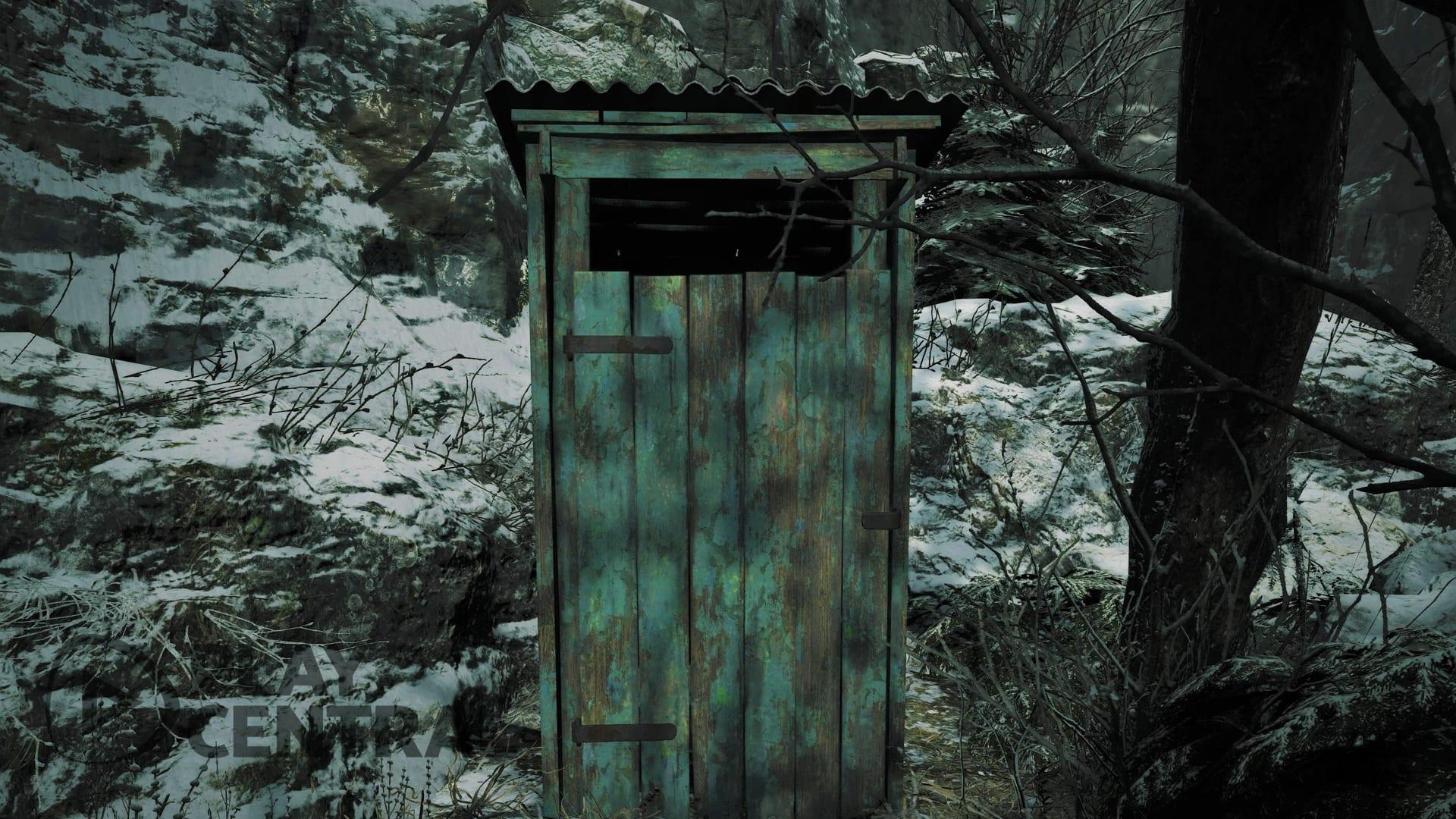 Resident Evil 8 Village porte des toilettes extérieures