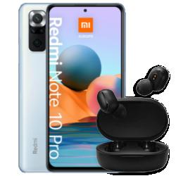 Redmi Note 10 Pro avec écouteurs Basic 2 bleu vue de face 1