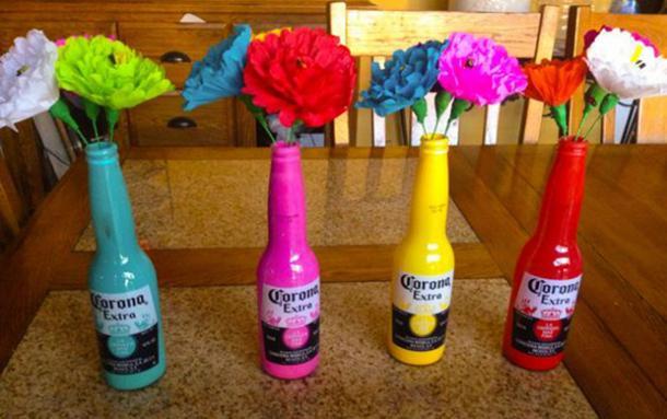 corona bouteille vases à fleurs bricolage décorations cinco de mayo
