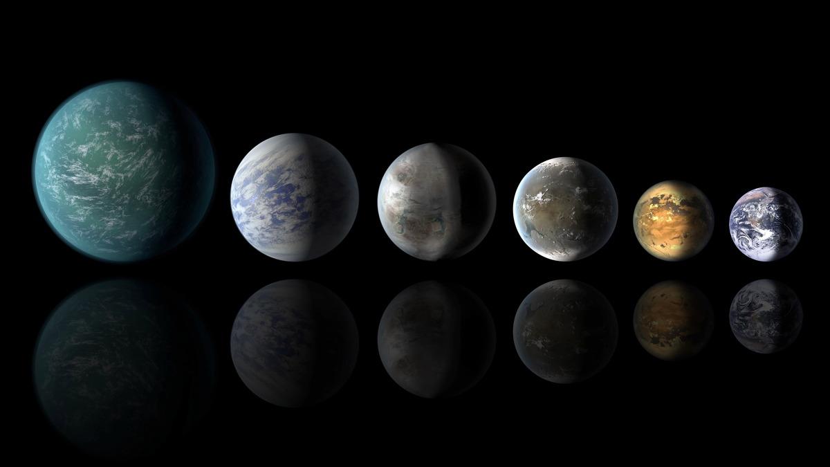Concept d'artiste d'une programmation planétaire, mettant en vedette cinq exoplanètes qui peuvent être similaires à la Terre: (G à D) Kepler-22b, Kepler-69c, Kepler-452b, Kepler-62f et Kepler-186f, avec la Terre à l'extrême droite.  Avec des télescopes plus avancés, les scientifiques peuvent être en mesure de trouver des signes de vie sur des exoplanètes comme celles-ci.
