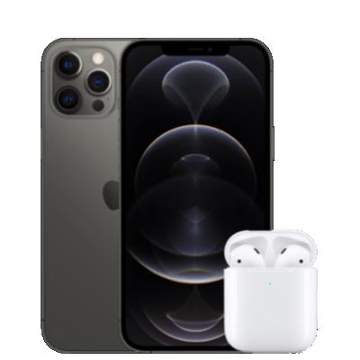 iPhone 12 Pro avec AirPods 2 vue de face grise 1
