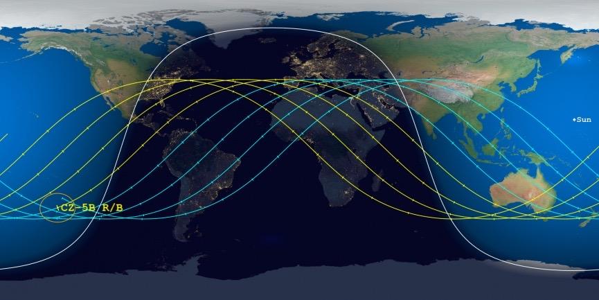 Le Centre d'études sur les débris orbitaux et de rentrée de la Société aérospatiale prévoit actuellement une date de rentrée au 10 mai 2021, plus ou moins 41 heures, pour la phase principale de la fusée Long March-5B qui a lancé le module de base de la Chine. station spatiale le 28 avril.