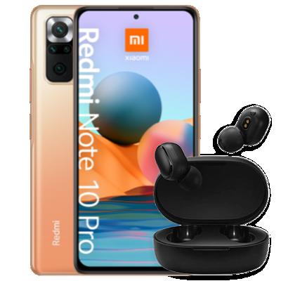Redmi Note 10 Pro avec écouteurs Basic 2 bronze vue de face 1