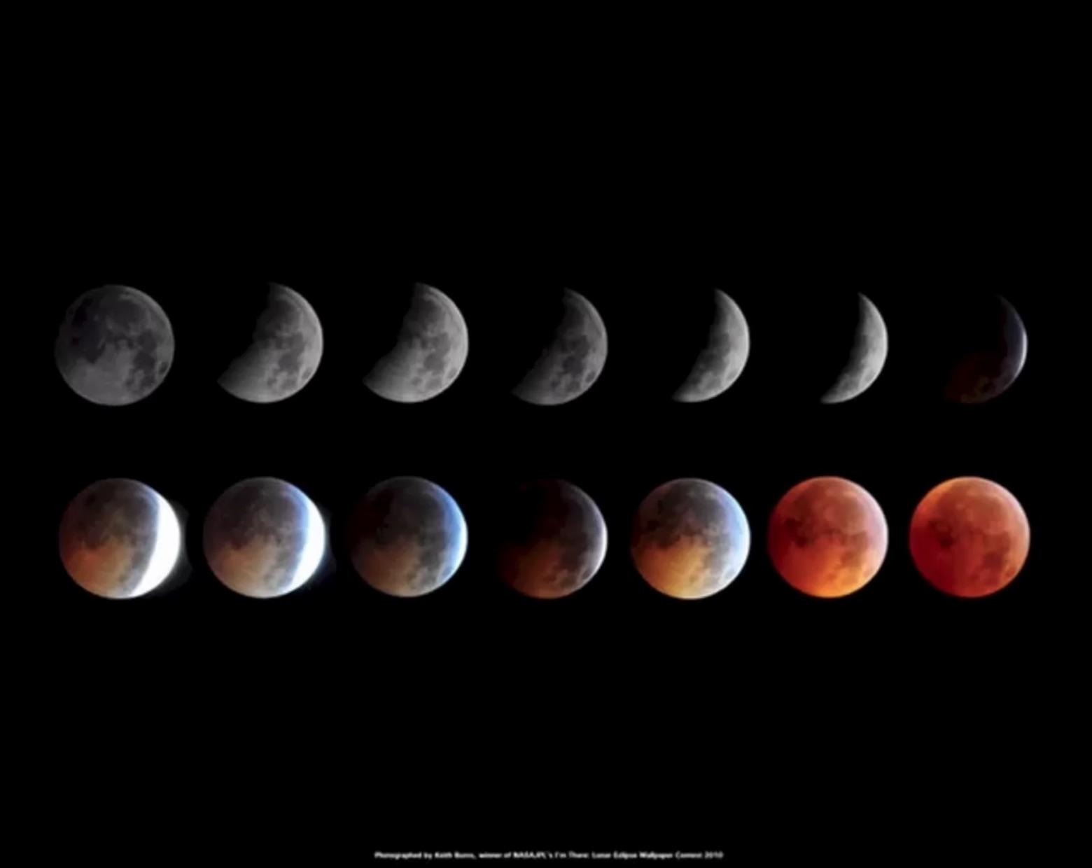 Skywatcher Keith Burns a pris ce montage d'images, qui montre l'éclipse lunaire totale du 20 décembre 2010.  Le montage a remporté un concours de la NASA pour devenir un fond d'écran officiel de la NASA / JPL pour le public.