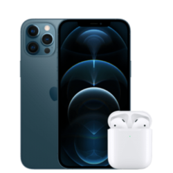 iPhone 12 Pro Max avec AirPods 2 vue avant bleue 1