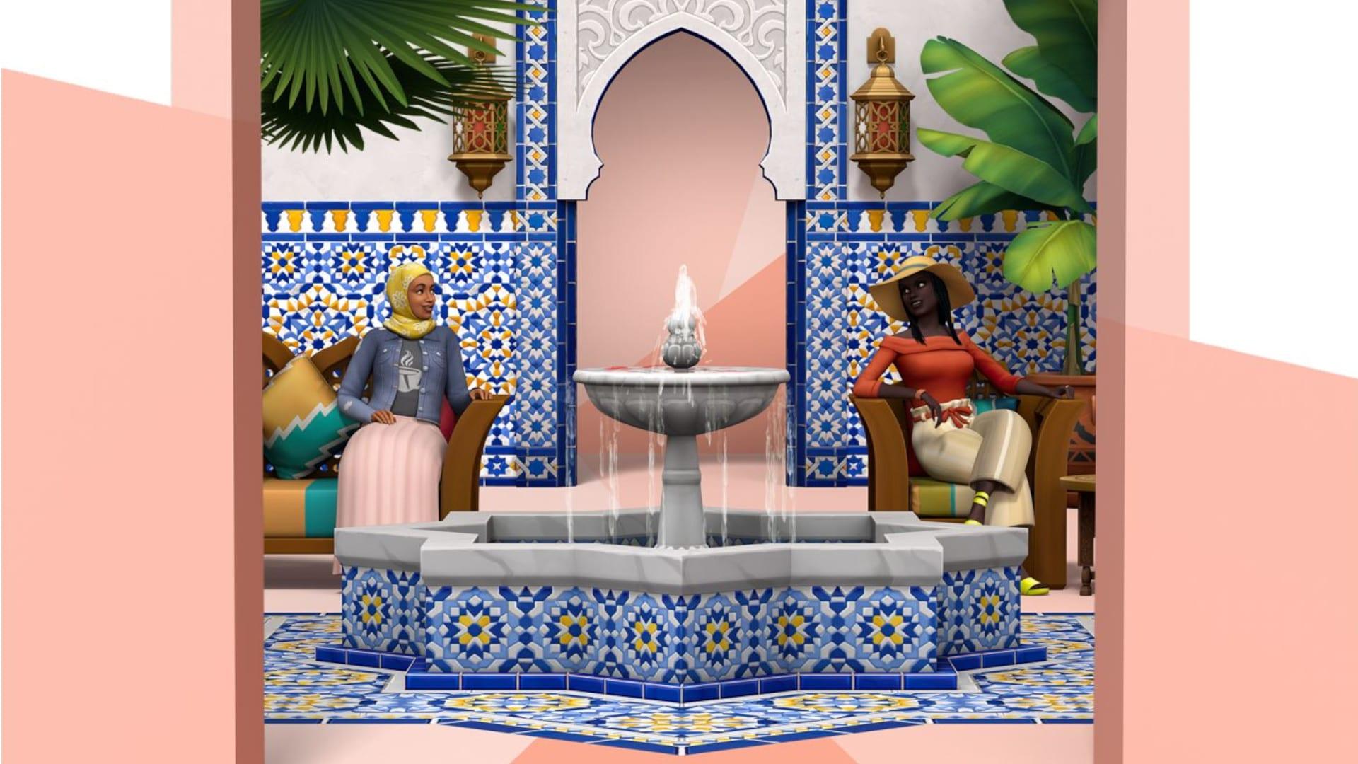 Ensemble de l'oasis de la cour des Sims 4