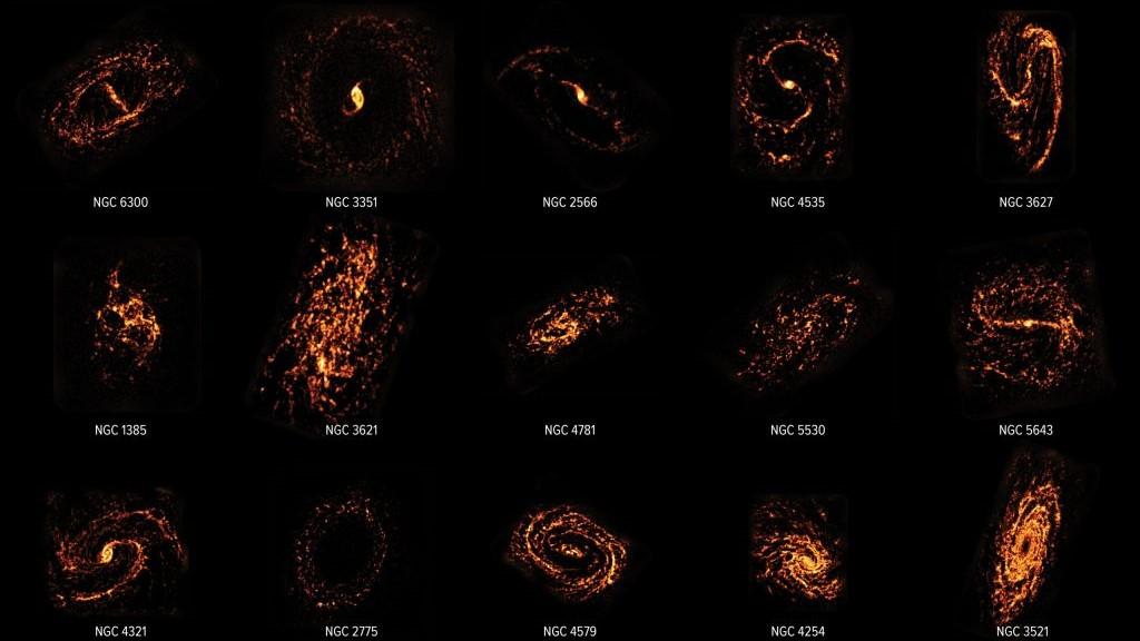Une petite sélection des 90 galaxies incluses dans l'enquête d'ALMA.