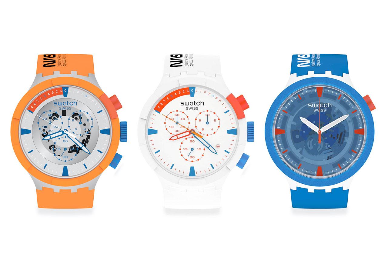 Les trois montres BioCeramic de la nouvelle Space Collection de Swatch — de gauche à droite : Big Bold Chrono Launch, Big Bold Chrono Extravehicular et Big Bold Jumpsuit — sont inspirées des vêtements de vol spatial et d'entraînement portés par les astronautes de la navette spatiale de la NASA.