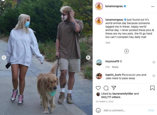 Tana Mongeau et Jake Paul ont été aperçus en train de marcher pendant le verrouillage en 2020 (Crédit: Instagram/tana.mongeau)