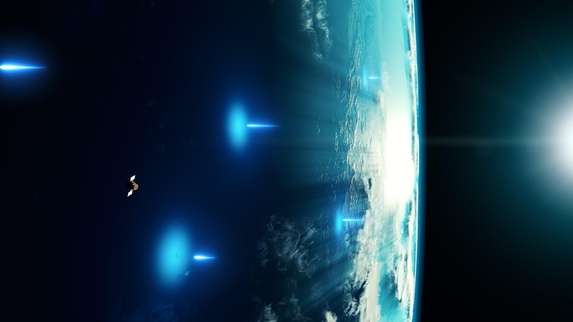 Représentation d'un artiste du satellite Swift de la NASA détectant les rayons X d'un sursaut gamma.