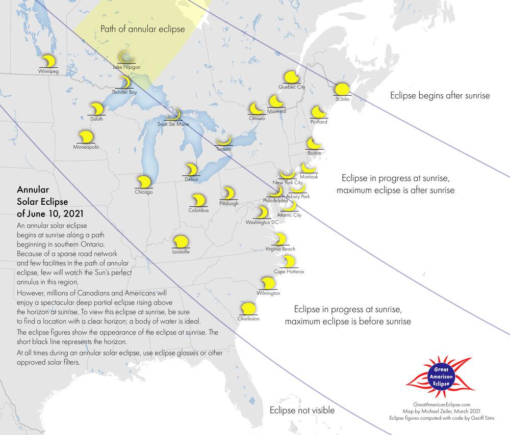Le cartographe d'Eclipse Michael Zeiler a créé cette carte de visibilité détaillée pour l'éclipse solaire annulaire du 10 juin 2021.  Les observateurs du ciel dans une grande partie du centre et de l'est de l'Amérique du Nord pourront profiter de cet événement sous la forme d'une éclipse solaire partielle;  l'effet complet de «cercle de feu» sera limité à une étroite bande de terre dans le centre et l'est du Canada.