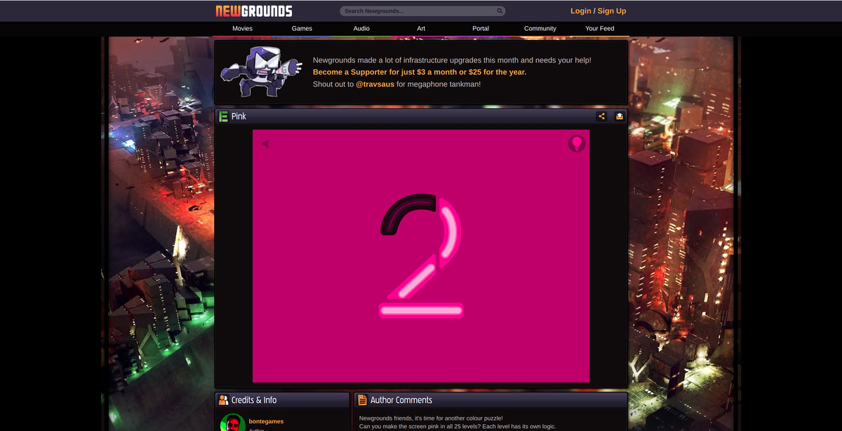 Newgrounds pink gaming sur Chromebooks