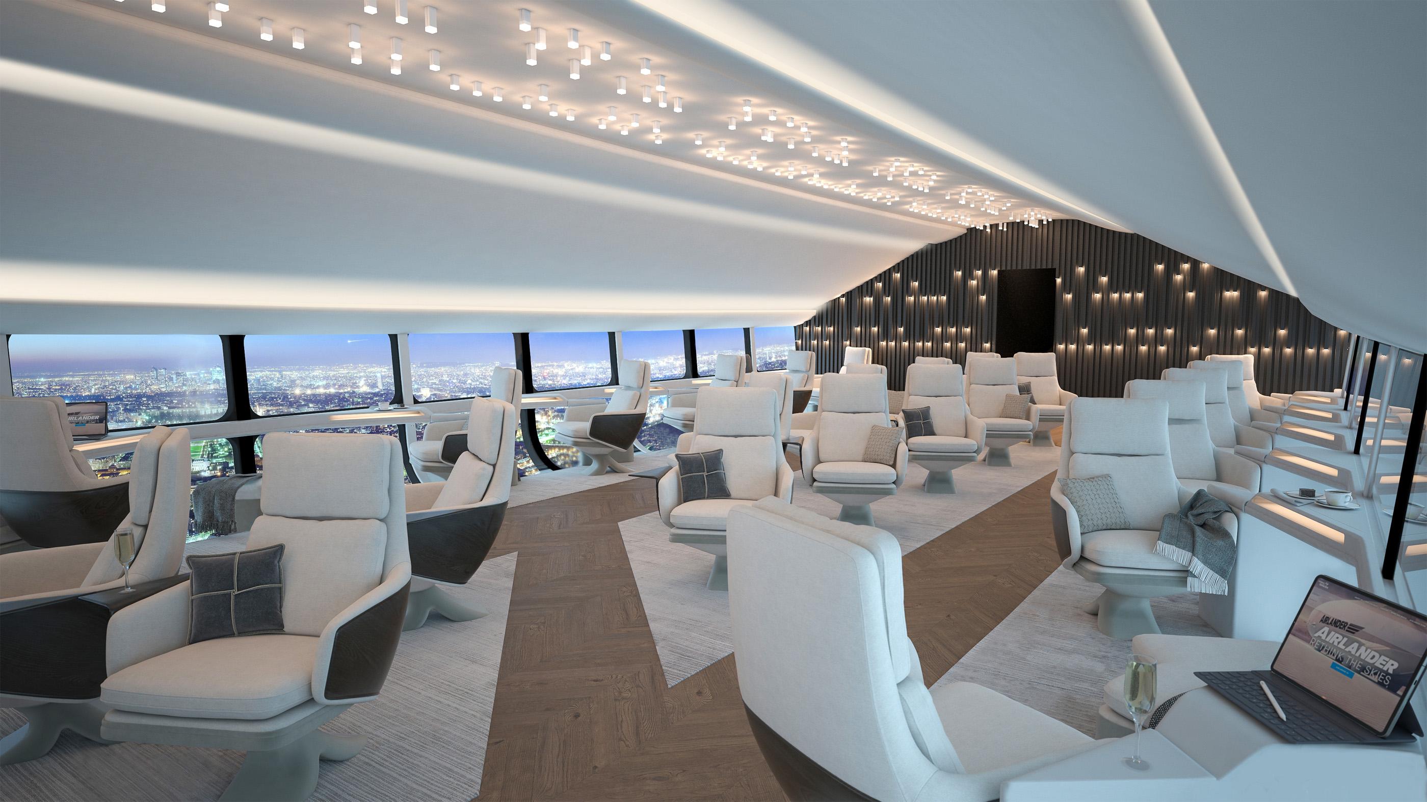 Ici, une image conceptuelle d'une cabine de 72 personnes à l'intérieur de l'Airlander 10.