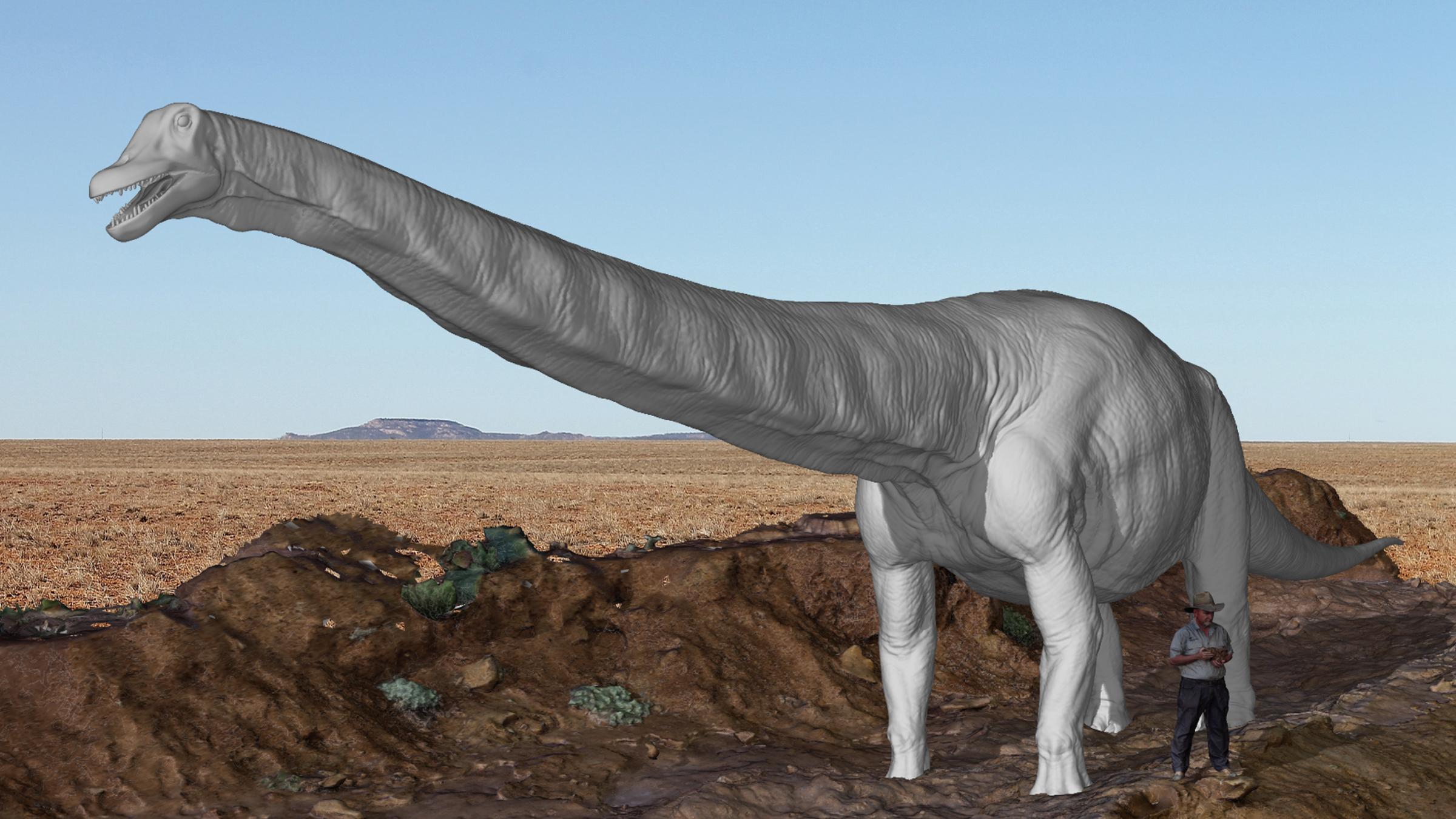 Une reconstitution virtuelle de Cooper se tenant à côté de l'autoroute des dinosaures, à l'échelle humaine.