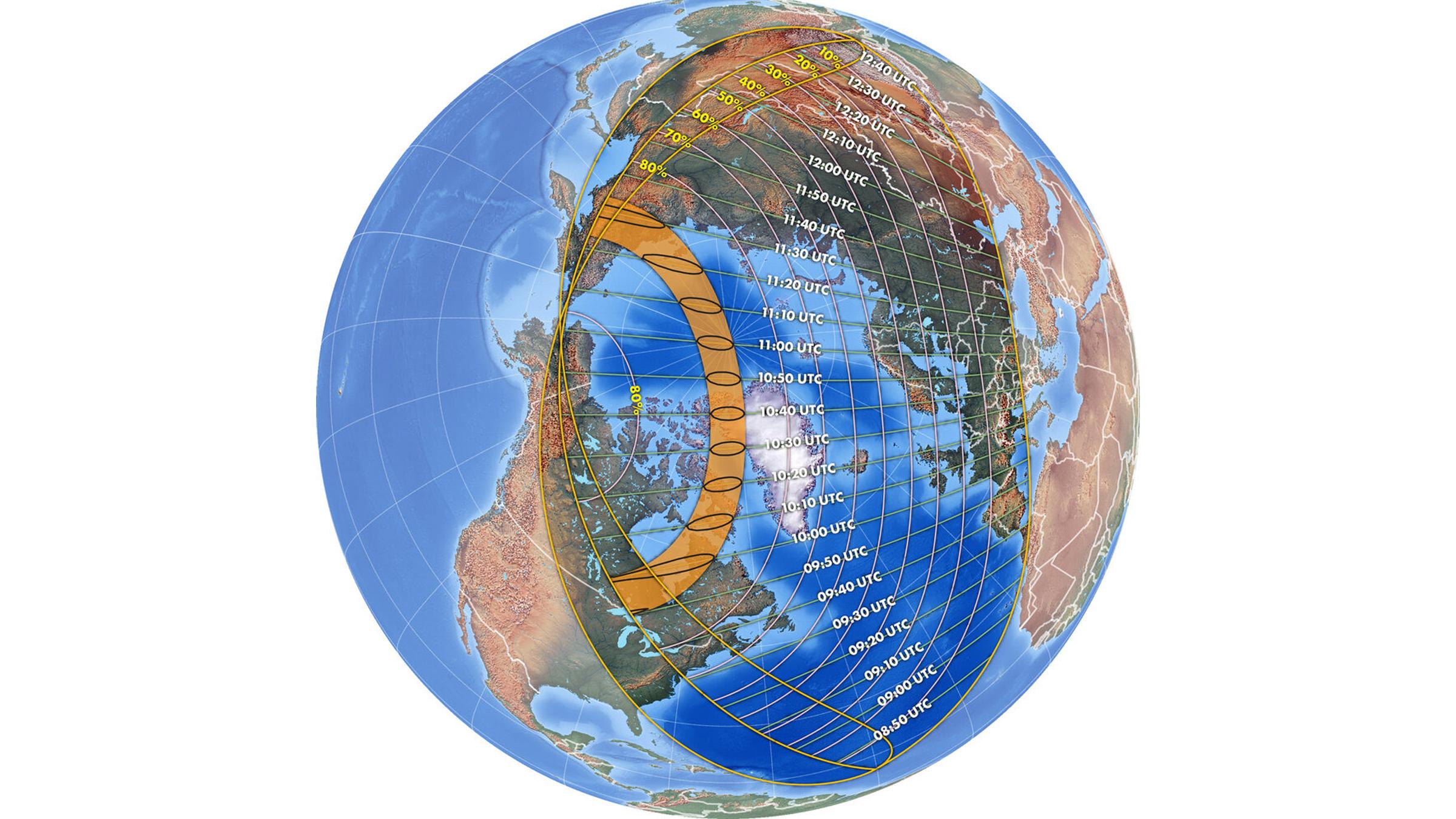 Le moment de l'éclipse solaire du 10 juin 2021.