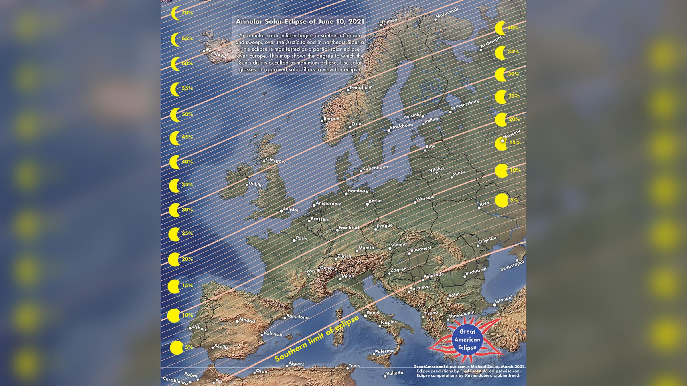 Calendrier de l'éclipse solaire du 10 juin 2021 sur l'Europe et l'Afrique du Nord.