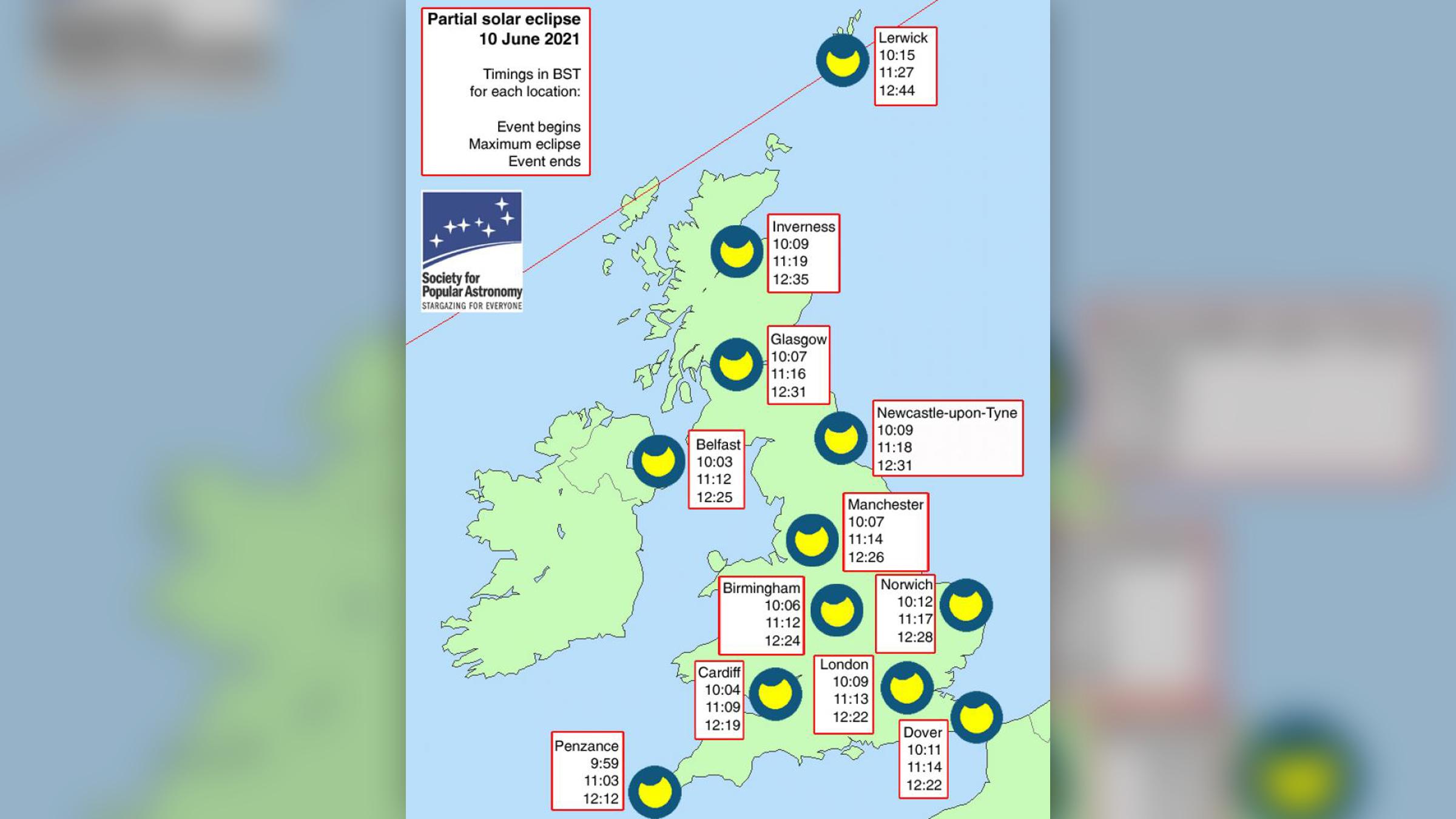 Carte du Royaume-Uni pendant l'éclipse solaire du 10 juin 2021