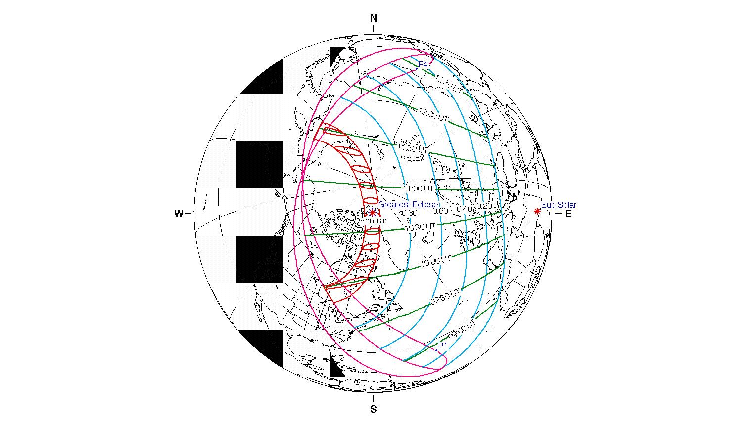 Une carte de la NASA de la trajectoire de l'éclipse solaire annulaire du 10 juin 2021 montre le voyage qu'elle effectuera à travers les régions les plus septentrionales de la Terre.