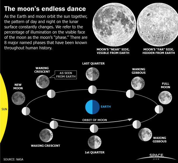 Découvrez les phases de la lune et la différence entre un croissant croissant et décroissant ou une lune gibbeuse dans cette infographie de Space.com sur le cycle lunaire chaque mois.  Voir l'infographie complète.