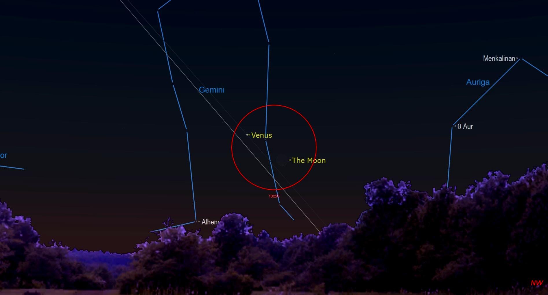 Nuit étoilée de juin 2021 La jeune lune rencontre Vénus