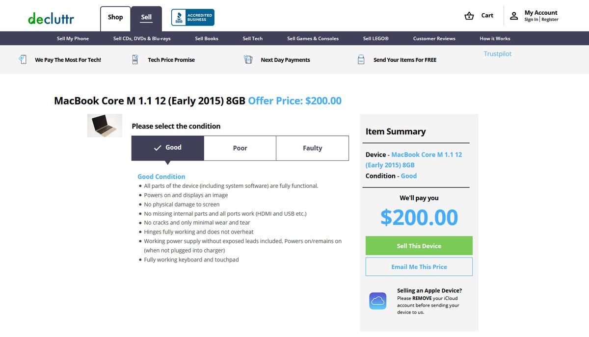 estimation de l'évaluation decluttr pour 2015 Macbook 12 pouces