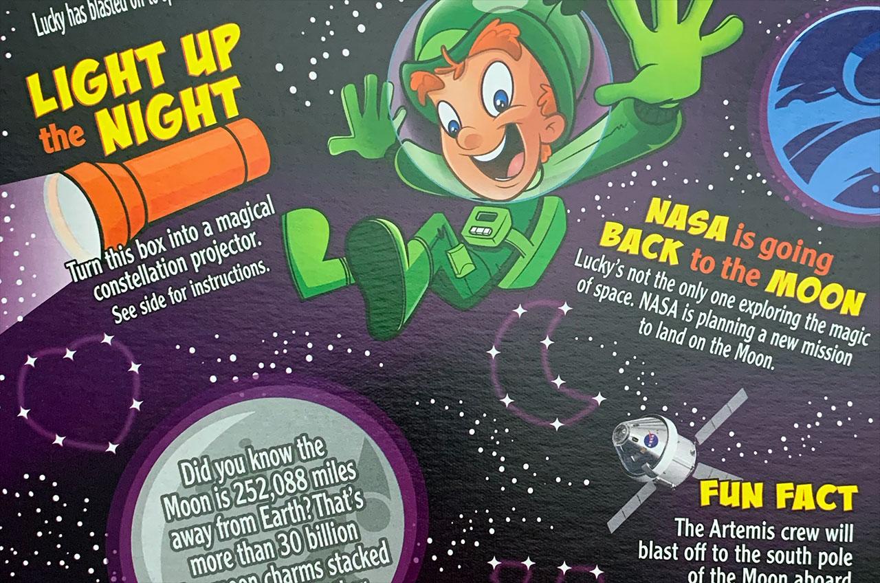 Les boîtes de galactiques Lucky Charms présentent des faits amusants sur le programme Artemis de la NASA et le système de lancement spatial (SLS).