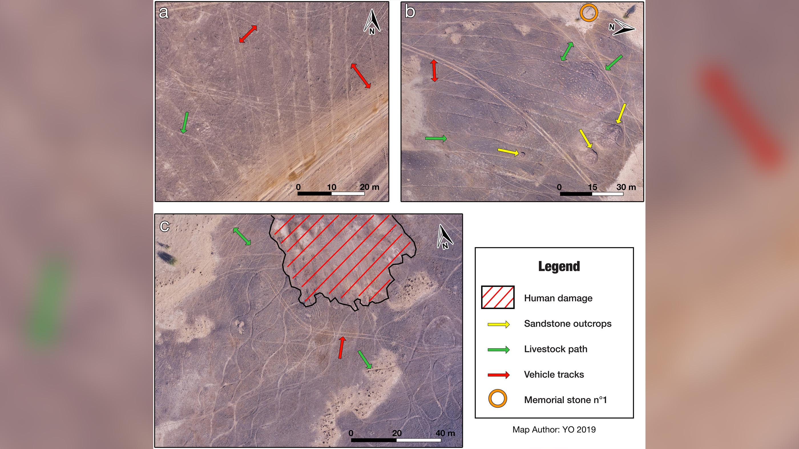 Des images en gros plan de parties de la spirale géante sont montrées ici en (a) et (b).  L'image du bas montre un gros plan d'un autre géoglyphe appelé Boha 3, à la pointe de la spirale géante.