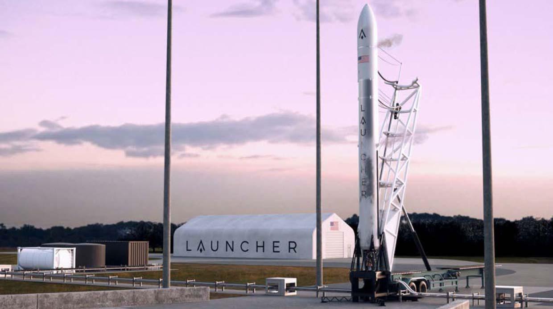 Un concept d'artiste de la fusée Launcher Light prévue avec un vaisseau spatial Launcher Orbiter encapsulé à l'intérieur de son carénage de charge utile.