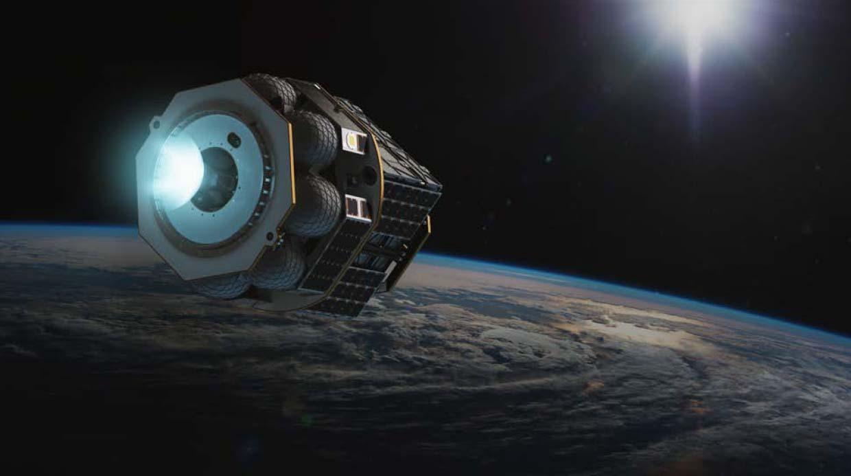 Un concept d'artiste du Launcher Orbiter avec son module de propulsion engagé.
