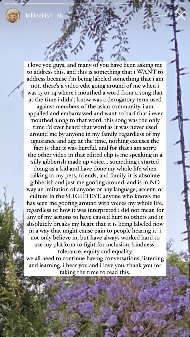 Billie Eilish présente ses excuses à la communauté asiatique après la refonte d'une vidéo offensante