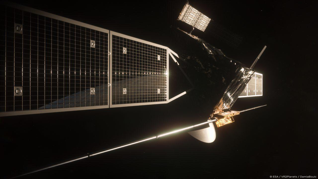 Rendu artistique du vaisseau spatial EnVision de l'ESA.  Crédits : Agence Spatiale Européenne/Observatoire de Paris/VR2Planets