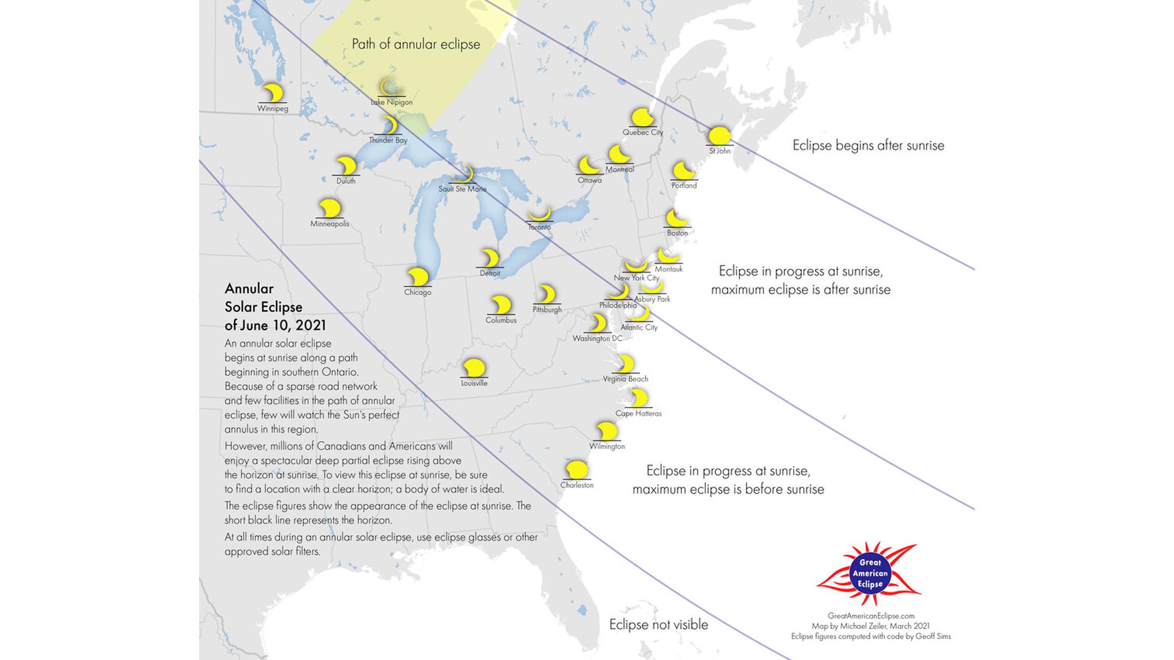 Différentes régions de l'Est américain verront des quantités variables d'éclipse partielle.
