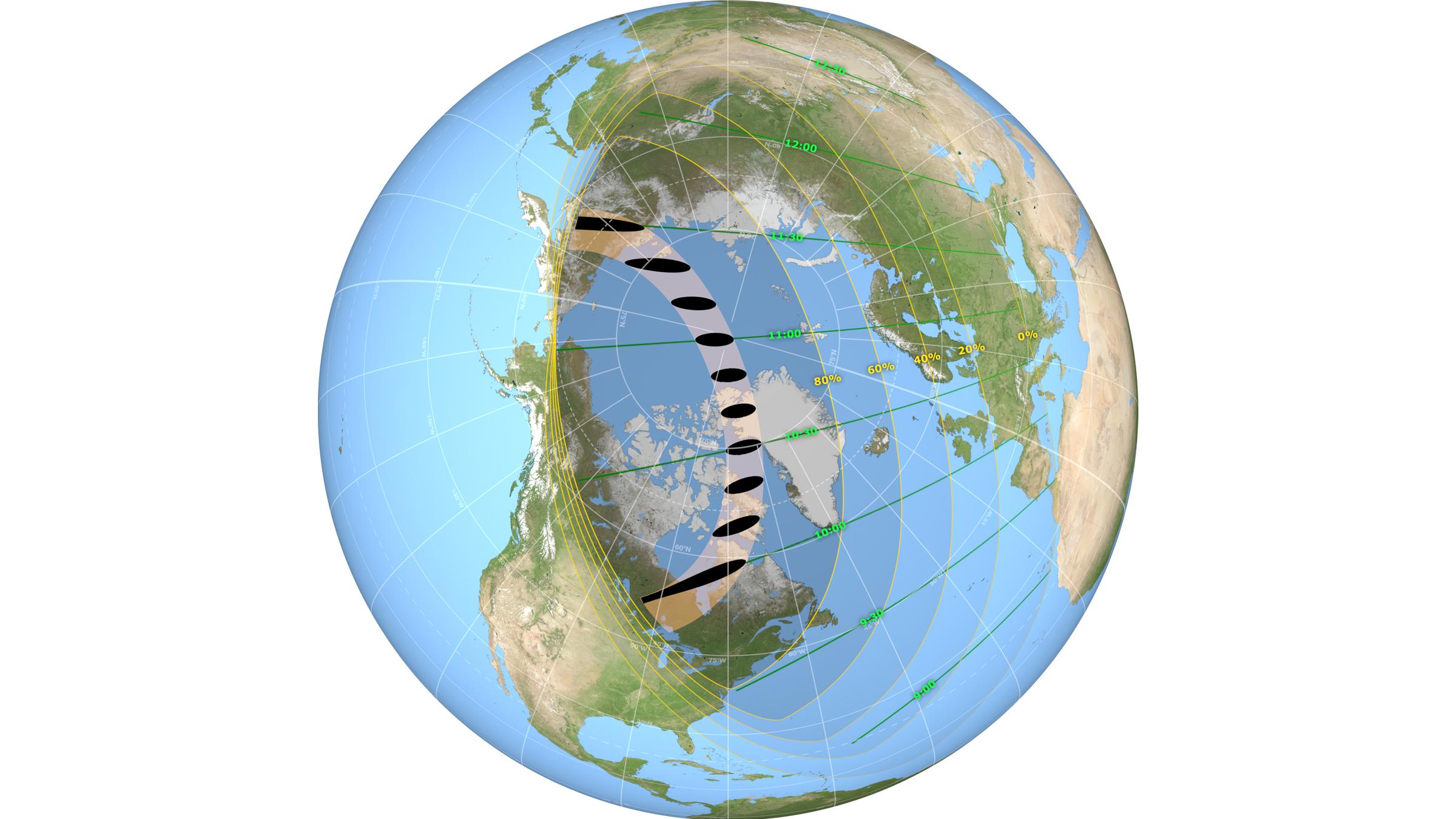 Les chemins où l'éclipse solaire annulaire et partielle seront visibles le 10 juin 2021.