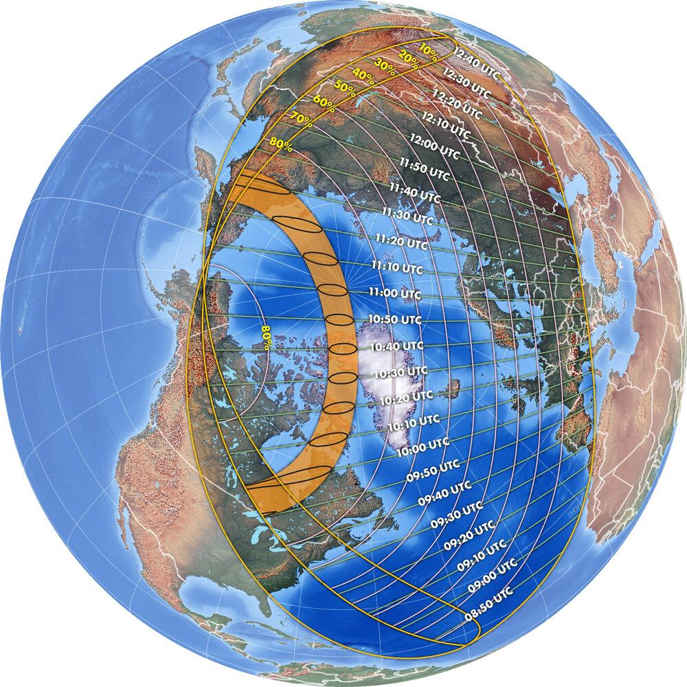 Ce graphique montre l'étendue de l'éclipse solaire annulaire du 10 juin 2021.