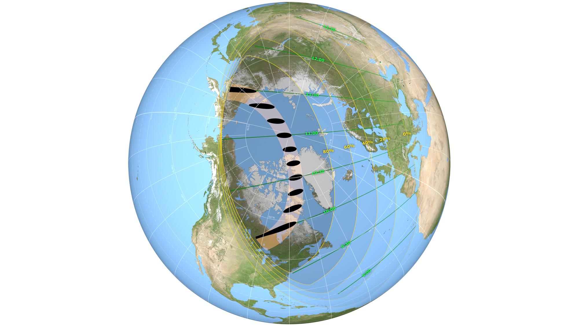 Cette carte de la trajectoire de l'éclipse montre où se produira l'éclipse solaire annulaire et partielle du 10 juin 2021.