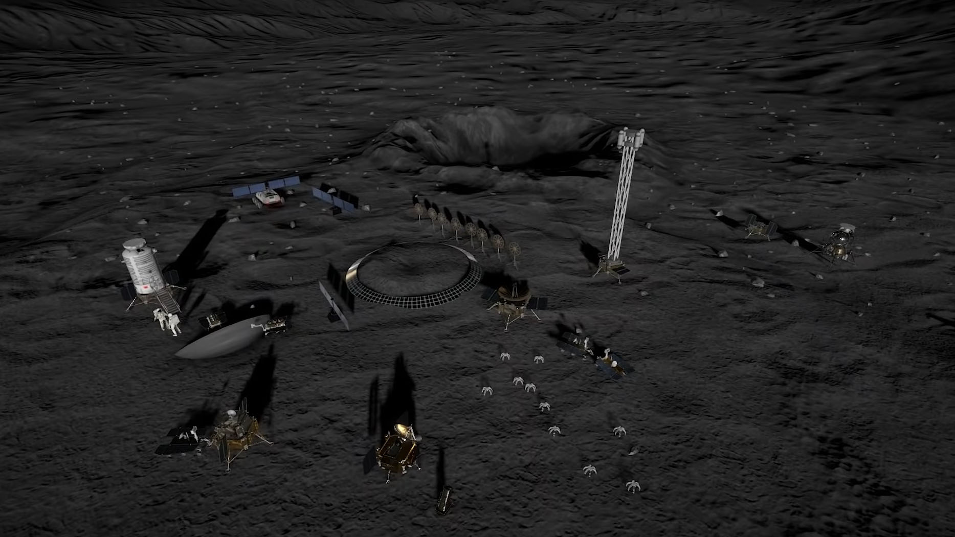 La station utilisera des technologies autonomes, notamment des robots sauteurs et des rovers pour explorer la lune.